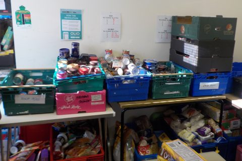 Donations at the food bank
